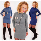 D1482 Cashmere dress with Ruffled Golf