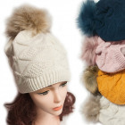 Winter Hat With Fleece, Fur Pompom 5048