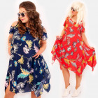 C17556 Summer Dress, Plus Size, Colorful Tropics