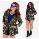 BI788 Damen Oversize Hood Jacket, Military Moro