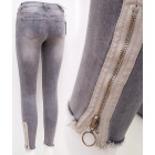 B16818 Women Jeans, Sliders And Brushing, Grey