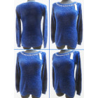 K05 Hairy Womens Sweater, Long Tunic with Pearls