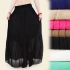 A1912 Long Women Skirt with Pleated Chiffon