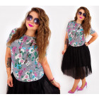 D1458 Loose Blouse Capri Style, Painted Flowers