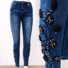 B16832 Beau jean avec perles et broderies