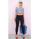 B16718 Classic Women Pants, Jeans, Tubes, Black