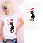 K549 Cotton T-Shirt , Top, Cats in Love, White