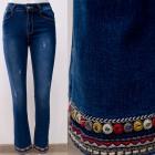 B16845 Belles femmes Jeans avec broderie folkloriq