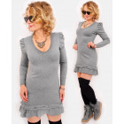A19112 Romantic Tunic Dress for Autumn, Wool