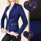 BI316 FEMALE JACKET, NAVY & BLACK, OFFICE STYL