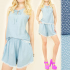 C1766 SUMMER, COMFORTABLE SET TOP + SHORTS, LACE