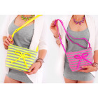 T64 Women's Handbag with Bow, Neon Stripes