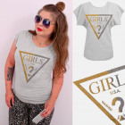 A884 Cotton T-Shirt , Top, Brocade Girls, Gray