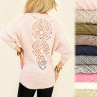 A846 Slimming Women Sweater, Tunic, Openwork Back