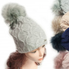 Winter Hat With Fleece, Fur Pompom 5049