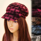 B10A11 Nice Ladies Hat, Plaid Pattern, Winter Cap