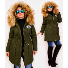 4415 Long Women Jacket with Fur, Khaki