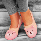 4329 Charming Women Ballerina Slippers, Teddy Bear