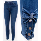 B16765 Women's Jeans, Bows and Snaps, Blue