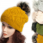 Winter Hat With Fleece, Fur Pompom 5044