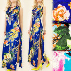 C1745 Tropical Dress, Loose Neckline, Exotic