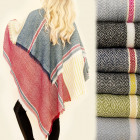 C17332 Extensive, Double sided Shawl, Plaid Poncho