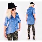 BI695 Baumwoll-Tunika, Damen Jeans Hemd Hell Denim