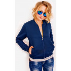 R09 Women's Bomber Jacket, Quilted, Navy Blue