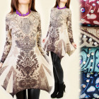 4027 TUNIC DRESS, INDIAN PRINT, JETS