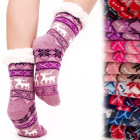 4204 Winter Socks, ABS Slippers, Faux Fur, Reindee