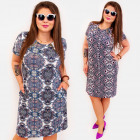 BI808 Patterned Plus Size Dress up to 54, Sliders