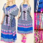 FL470 Long Dress, Kimono, Delightful Pattern