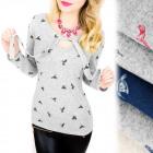 C11445 Romantische Bluse mit Schleife, Kolibrimust