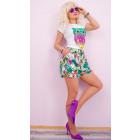 C17494 Women Shorts, Oversize, Tropic Flowers