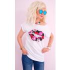 K542 Cotton Blouse, Womens Shirt Top, Flowery Lips