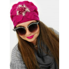 A1263 Womens Cap with Flower, Faux Fur, Angora