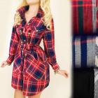 BI530 Kleid-Hemd, Tunika, kariertes Muster