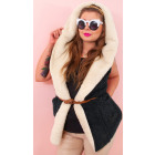 D1477 Women Fur Cardigan with Hood, Vest Cozy&Soft