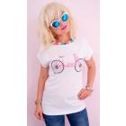 K544 Cotton Blouse, Women Shirt, Top, Pink Bicycle