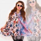 O13 Châle Double Face, Écharpe, Fleurs Colorées