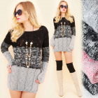 A897 Long Women Sweater, Warm Tunic, Shaded