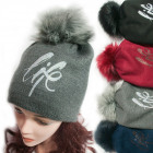 Winter Hat With Fleece, Fur Pompom 5051