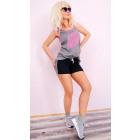 C1932 Pantalones cortos de fitness para mujer, con