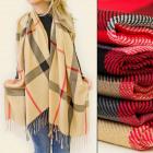 FL713 Elegant checkered scarf, tassels
