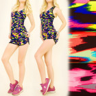 FL494 Set Top + Shorts, Fitness, Joggen, Neon