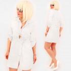 Robe liée R96, tunique ample, chemise blanche