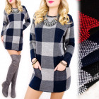 C24172 Beautiful Dress, Long Sweater, Checkred