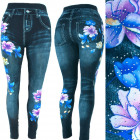 Women leggins, jeans with jets, magnolias, UNI