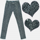 A19151 Girls Pants, cotton, Gray leopard pattern