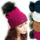 Winter Hat With Fleece, Fur Pompom 5046